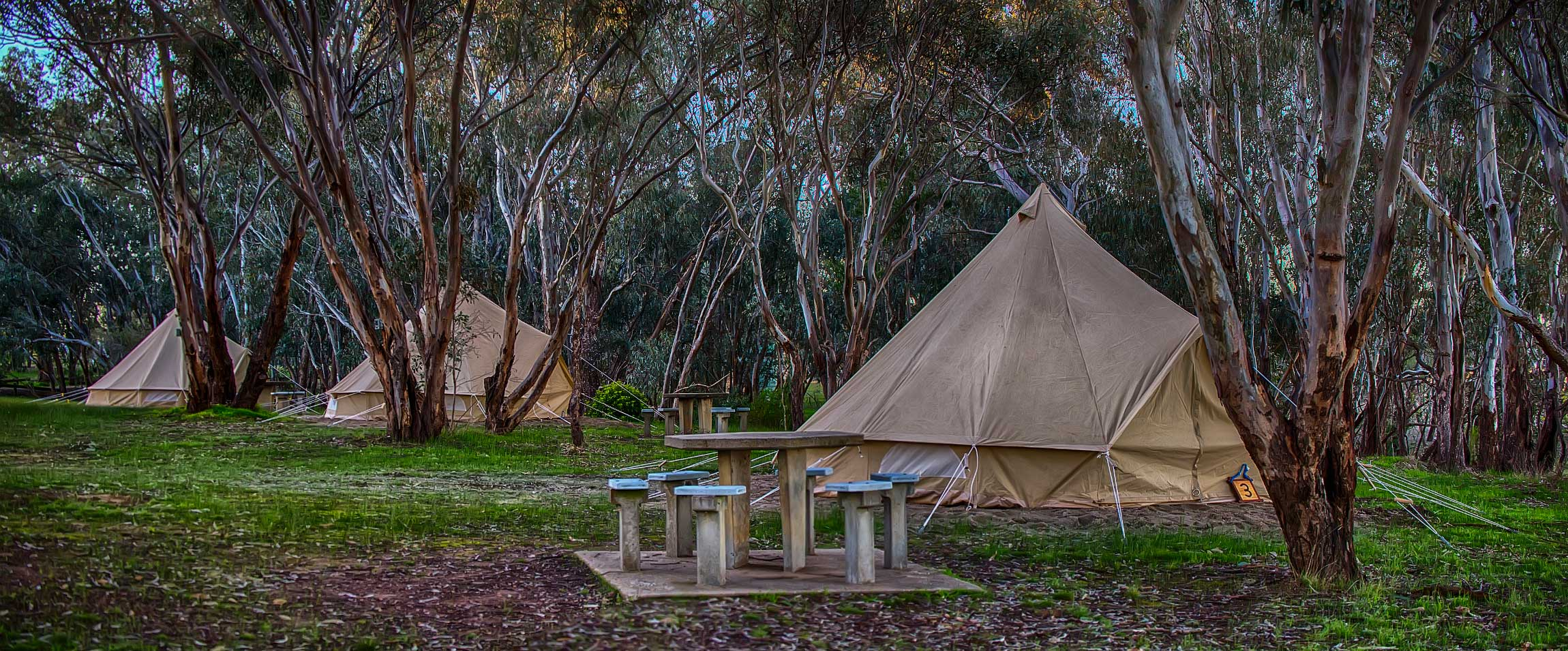 luxury camping tent on the foreshore