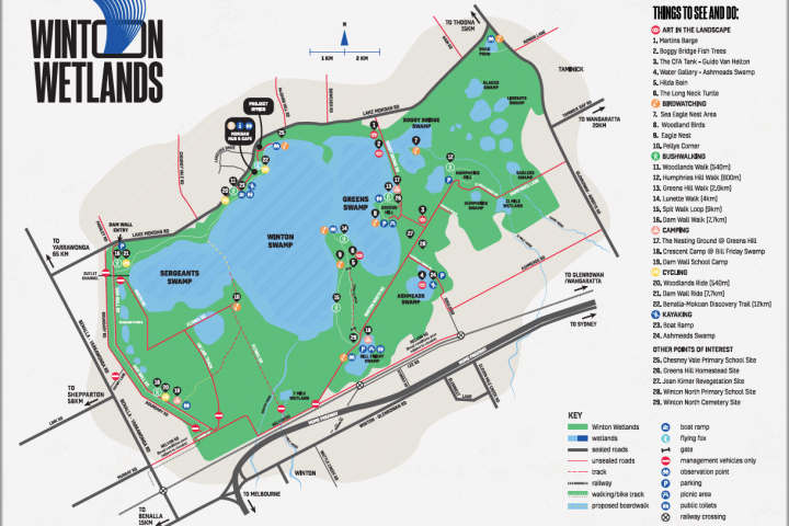 Winton Wetlands map