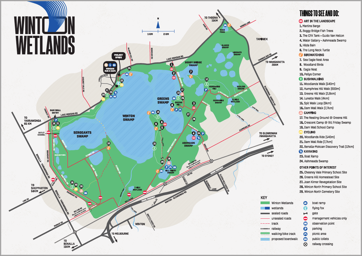 Winton Wetlands Map January 2018