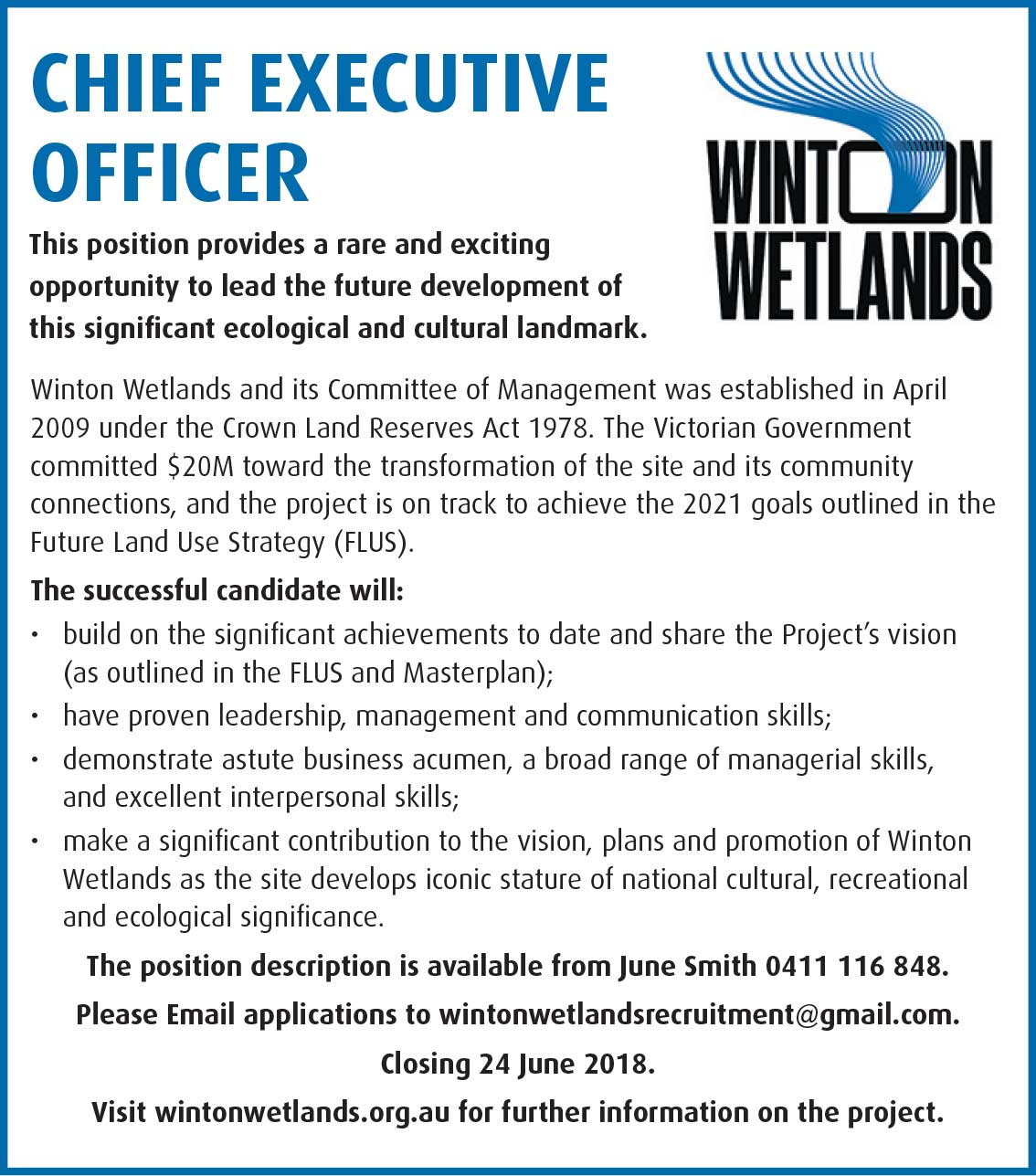 CEO Winton Wetlands
