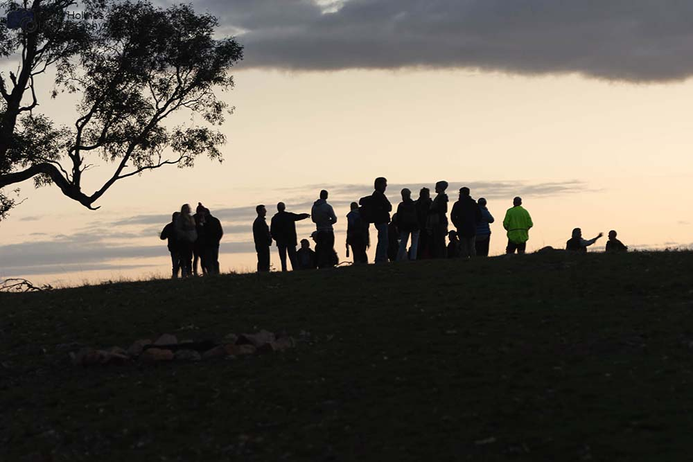 scientists watching the sunset at Winton Wetlands