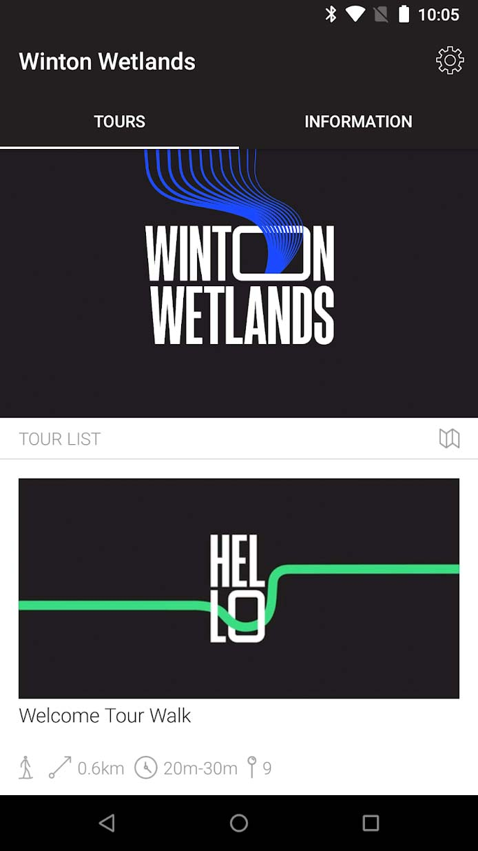 screenshot of Winton Wetlands app